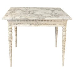 Center Table, End Table, 18th Century Swedish Painted with Marble Top