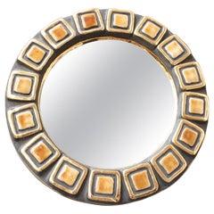 Ceramic Wall Mirror by François Lembo, circa 1960s