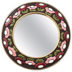 Ceramic Wall Mirror with Flower Motif by François Lembo, circa 1960s