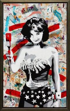 """Wonder Jackie"" Urban Pop Portrait Jackie Kennedy Wonder Woman Mixed Media"