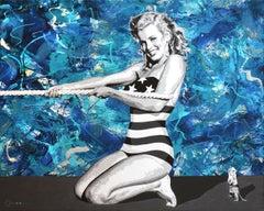 Young Marilyn Monroe at the Beach tug of war  40x50 acrylic & mixed media canvas