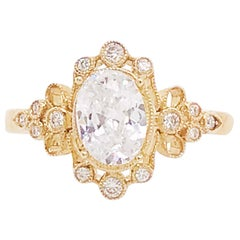 Certified 1.2 Carat Oval Diamond Custom Yellow Gold Engagement Ring with Antique