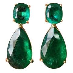 Certified 41.14 Carat Zambian Emerald Drop Earrings