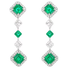 Certified Colombian Emerald and White Diamond Drop Earrings in 18K White Gold