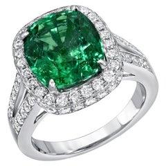Emerald Ring Cushion Cut 4.66 Carats
