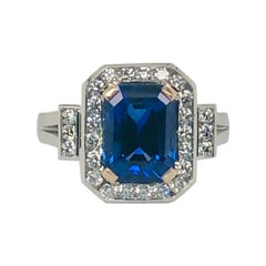 Certified Natural 3.78 Carat Emerald Cut Sapphire Diamond Art Deco Cocktail Ring