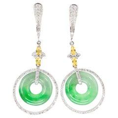 Certified Natural Icy Jadeite Jade and Diamond Drop Earrings, Apple Green Veins
