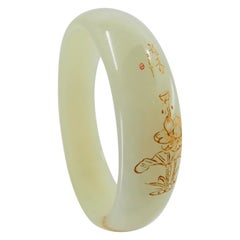 Certified Natural Nephrite White Jade Bangle Floral Gold Inlay, Flower Motif