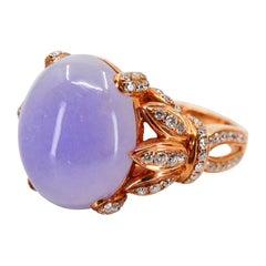 Certified Natural Type A Lavender Jadeite Jade Diamond Cocktail Ring, Rose Gold