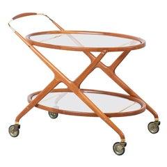 Cesare Lacca Sculpted Walnut & Brass Serving Cart for Cassina