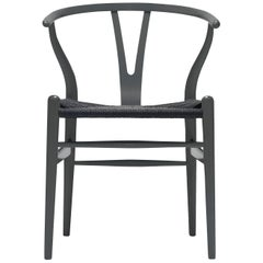 CH24 Wishbone Chair in Color Finishes with Black Papercord Seat by Hans Wegner