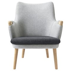CH71 Lounge Chair in Oak Soap with Upholstered Frame by Hans J. Wegner