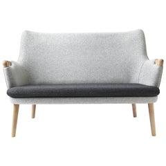 CH72 Sofa in Oak Soap with Upholstered Frame by Hans J. Wegner