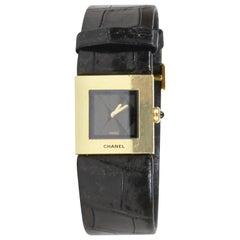 Chanel 18k Gold Black Alligator Band Watch
