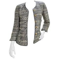 Chanel 1980s Black & White Tweed Blazer