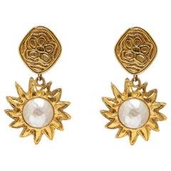 Chanel 1990s Gold Tone Sun Drop Earrings