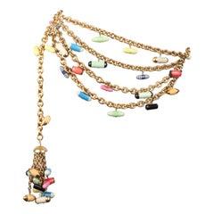 Chanel 1991 Fall/Winter Gold Chain Multicolour Pill Capsule Belt Very Rare