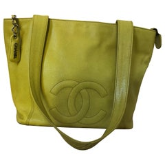 Chanel 1996/97 Olive Yellow Coco Mark Caviar Tote serial #4707548