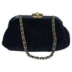 Chanel 2014 Velvet Silk Bee Clasp Handbag