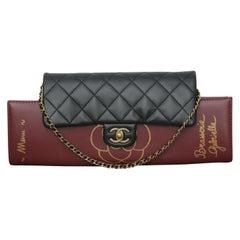 Chanel 2015s Burgundy Gabrielle Brasserie Menu Flap Clutch
