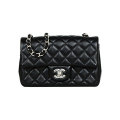 Chanel 2019 Black Lambskin Leather Quilted Mini Rectangular Classic Flap Bag