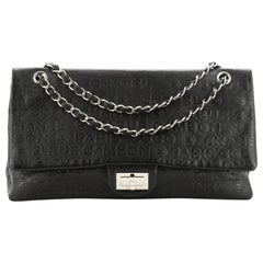 Chanel 31 Rue Cambon Double Flap Bag Embossed Leather Maxi