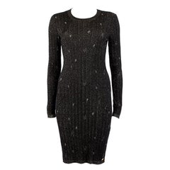 CHANEL black cashmere KNIT Long Sleeve Dress S