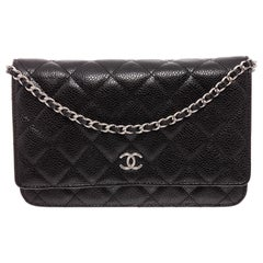 Chanel Black Caviar Leather WOC Wallet On Chain Bag