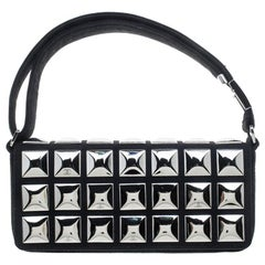 Chanel Black Jersey CC Pyramid Stud Flap Shoulder Bag