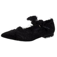 Chanel Black Lace Mary Jane Bow Detail Pointed Toe Ballet Flats Size 35.5