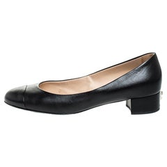 Chanel Black Leather CC Cap Toe Court Shoe Pumps Size 39.5