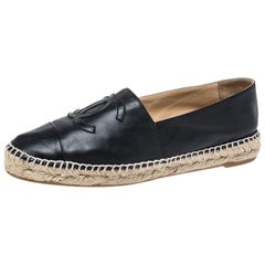 Chanel Black Leather CC Espadrilles Size 39