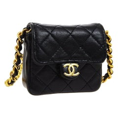 Chanel Black Leather Gold Chain Evening Micro Mini Shoulder Flap Bag