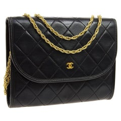 Chanel Black Leather Gold Evening Chain Small Mini Evening Flap Bag