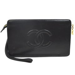 Chanel Black Leather Lambskin Gold Zipper Evening Wristlet Pouch Clutch Bag