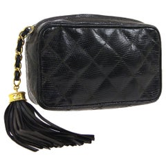 Chanel Black Lizard Exotic Skin Leather Gold Small Party Evening Clutch Bag