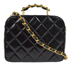 Chanel Black Patent Leather Lunch Travel Top Handle Satchel Tote Shoulder Bag