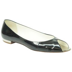CHANEL Black Patent Peep toe Flat with Silver Heel-39