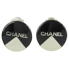Chanel Black Silver Plastic Round Evening Stud Earrings