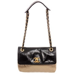 Chanel Black Two-Tone Quilted Leather CC Flap Shoulder Bag