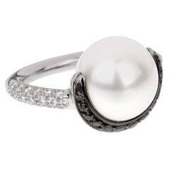 Chanel Black White Diamond Pearl Platinum Ring