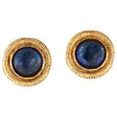 Chanel Blue Gripoix Button Earrings