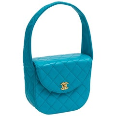 Chanel Blue Lambskin Rounded Handle Purse, 1990's