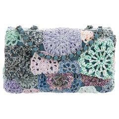 Chanel Blue Purple Flower Crochet Leather Medium Evening Shoulder Flap Bag
