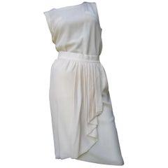 Chanel Boutique Ivory Silk Blouse & Skirt Ensemble c 1980s