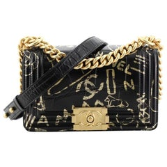Chanel Boy Flap Bag Graffiti Crocodile Embossed Calfskin Small