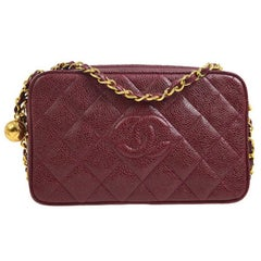 Chanel Burgundy Lizard Leather Small Evening Gold Camera Shoulder Bag in Box