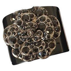Chanel Camellia Crystal Wide Cuff Bracelet