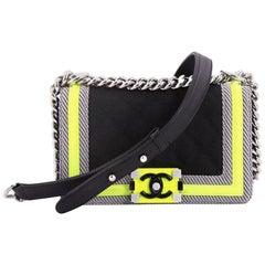 Chanel Canvas Quilted Medium Fluo Boy Flap Black Grey Yellow Shoulder Bag