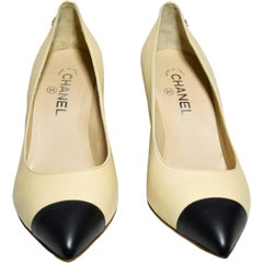 Chanel Cap Toe Pumps Beige and Black with CC  Back Heels